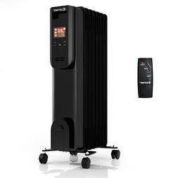 1500W Electric Oil Filled Radiator Heater LCD 7-Fin Timer w/