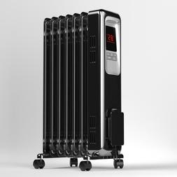1500W Electric Oil Filled Radiator Space Heater 7 Fin Thermo