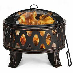 """28"""" Outdoor Fire Pit BBQ Portable Camping Firepit Heater Pat"""