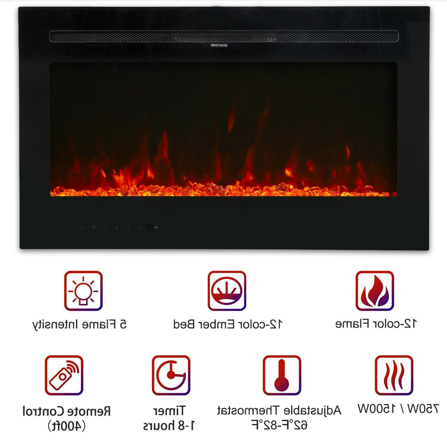 """36"""" Wall Mount Fireplace Flame"""