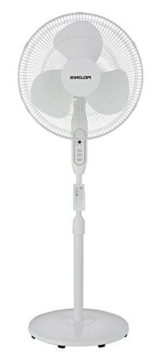 Pelonis 3-Speed Oscillating Adjustable 16-Inch Stand Fan wit