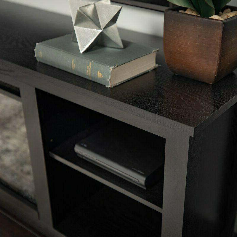Wood Stand Fireplace Entertainment Unit Bookcase Heater