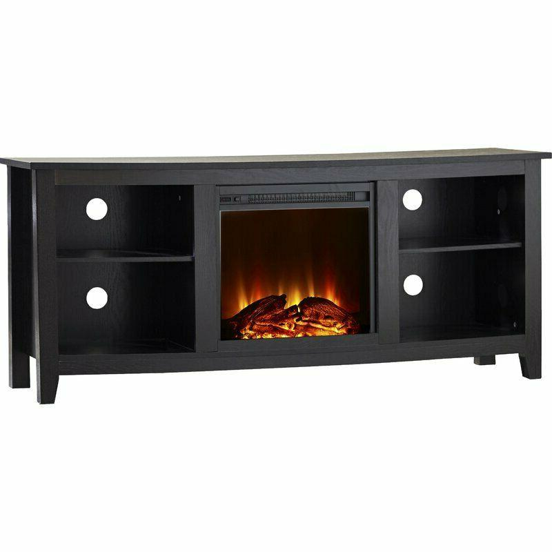 Wood TV Stand Electric Fireplace Unit Bookcase