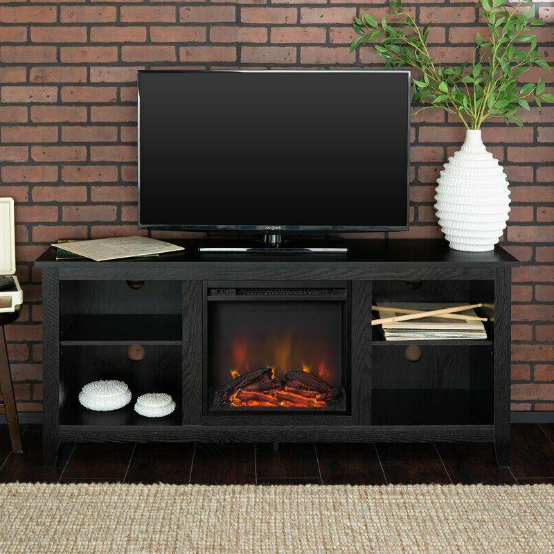 Wood TV Stand Fireplace Center Bookcase