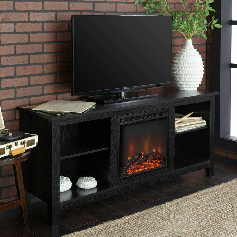 wood tv stand electric fireplace entertainment center